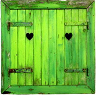 Green double barn doors with two small hearts, which serves as the logo for Heartland Estate Sales.